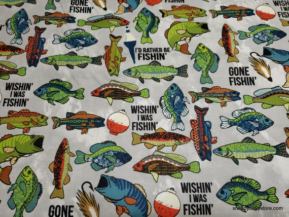 Flannel Fabric - Rather Be Fishin' - By the yard - 100% Cotton Flannel