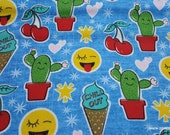 Flannel Fabric - Chill Out Cones Emojis and Cactus - By the yard - 100% Cotton Flannel