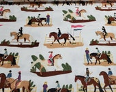 Flannel Fabric - Horse Show - By the yard - 100% Cotton Flannel