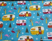 Christmas Flannel Fabric - Coastal Holiday Campers - By the Yard - 100% Cotton Flannel