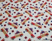 Flannel Fabric - Red White Bold Wagon - By the yard - 100% Cotton Flannel