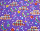 Flannel Fabric - Dot Moon Purple - By the yard - 100% Cotton Flannel