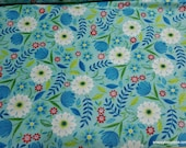 Flannel Fabric - Daisy Leaves on Blue - By the yard - 100% Cotton Flannel