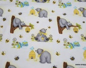 Flannel Fabric - Honey Bears 'N Bees on White - By the yard - 100% Cotton Flannel