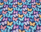 Flannel Fabric - Bright Realistic Butterflies - By the Yard - 100% Cotton Flannel
