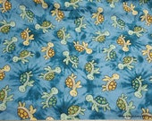 Flannel Fabric - Tie Dye Turtles - By the yard - 100% Cotton Flannel