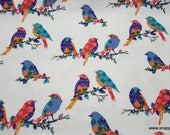 Flannel Fabric - Pattern Trap Birds  - By the yard - 100% Cotton Flannel
