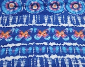Flannel Fabric - Navy Butterfly Tie Dye - By the yard - 100% Cotton Flannel
