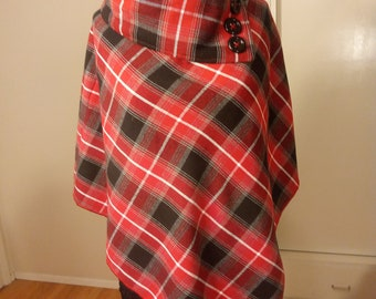 """Fashion Wool Poncho with Asymmetric Collar & Button Accents, Warm Colors -""""Venezia"""", Dry Clean Only Fabrics- FREE SHIPPING!"""