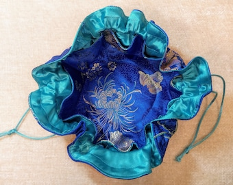 Jewelry Drawstring Travel Pouches - New Royal Blue, Gold, & Pink -  Beautiful and Colorful Floral Prints in Asian Influenced Satin Fabrics
