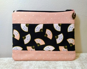 Mahjong Large Size Card Zipper Pouch/Organizer in Asian Influenced Cotton and Quilted Cotton Prints