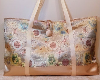 """Mahjong Tote Bag in Asian Influenced Satin with button and loop closure, """"West Wind"""" style- FREE SHIPPING!"""