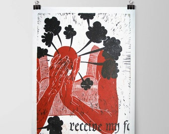 "Woodcut // Woodblock print  //  11,8'' x 15,7 '' // ""Pandora"""