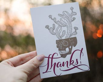 Letterpress Card with skull and envelope / A6 / Thanks
