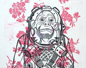 Woodcut // Woodblock print  //  monkey with flowers // 19,6'' x 13,7''