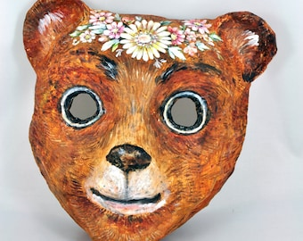 Pappmaché Mask, children mask, Little bear mask, animal mask