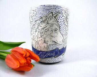 Handmade porcelain mug with hand painted wolf