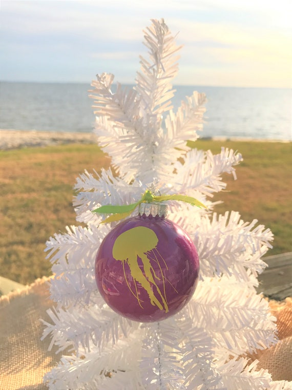 Tropical Christmas.Beach Ornaments Tropical Christmas Nautical Christmas Coastal Holiday Decorations Colorful Glass Ornaments Yellow Jelly Fish