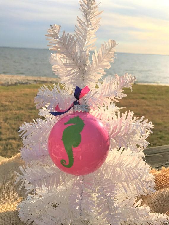 Tropical Christmas.Beach Ornaments Tropical Christmas Nautical Christmas Coastal Holiday Decorations Colorful Glass Ornaments Green Seahorse Secret Santa Gift