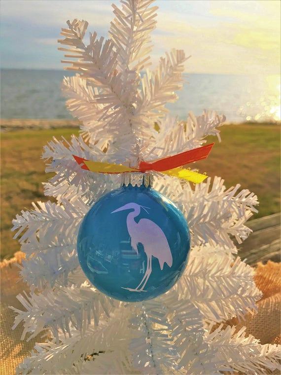Tropical Christmas.Beach Ornaments Tropical Christmas Nautical Christmas Coastal Holiday Decorations Colorful Glass Ornaments White Heron Secret Santa Gift