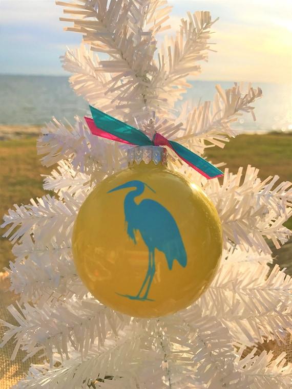 Tropical Christmas.Beach Ornaments Tropical Christmas Nautical Christmas Coastal Holiday Decorations Colorful Glass Ornaments Teal Heron Secret Santa Gift