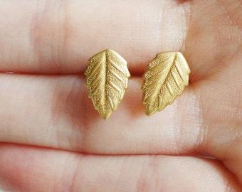Leaf Brass 8x12mm Stud Earring