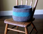 Modern Crochet Basket - 26 Colors - Stripes/Nursery/Baby/Home/Decor/Storage/Knit/Yarn/Toys/Books/Blankets