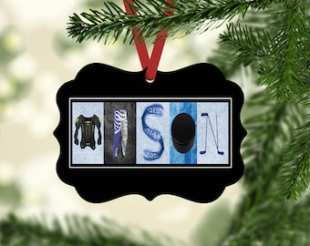 hockey name ornament hockey christmas ornaments personalized hockey gift hockey team gift ornament gift under ten coach gift hockey