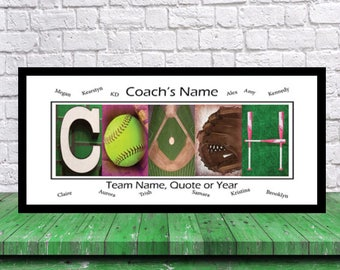 Softball Coach Gift - Team Signature Print - Softball Coach Team Gift - Softball Mom- Best Coach Gift - Coach Print - Softball Dad