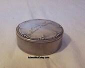Robert Kraft Pill Box, Trinket Box, Etched Silverplate Pill Box Robert Kraft Alpacca Silver