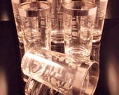 Vintage Cut Glass Tumblers Silver Band Mid Century Set of 6