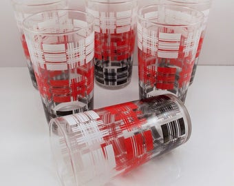 Vintage Drinking Glasses Tumblers Basket Weave Checkered Red Black White Set of 6