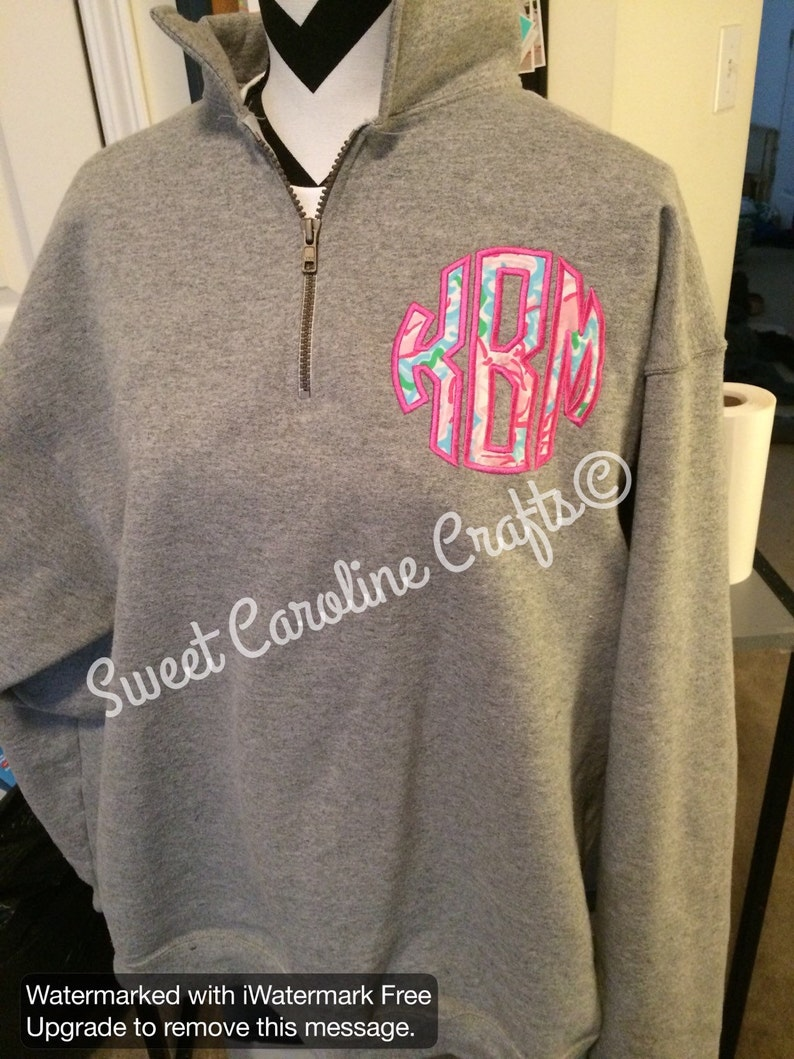 79be744d82bd5 Lilly pulitzer applique Monogrammed Quarter Zip sweatshirt