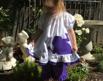 TCU Double Ruffle Peekaboo Horned Frog Purple Peasant Dress Tunic Top TCU gameday dress tcu apparel