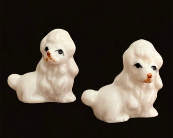 Small Poodle Knickknack Made In Taiwan Collectible Animal Genuine Bone China Poodles White Set of Two Mid Century Figural Dog Figurines
