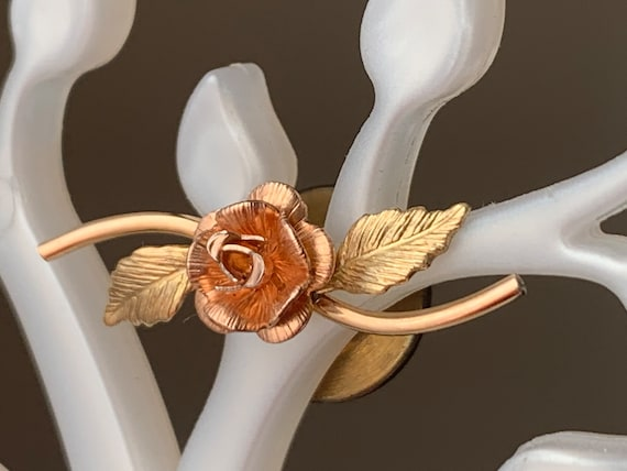 Rose Gold Tone Yellow Gold Tone Vintage Two Tone Gold Rose Tie Tack Pink and Yellow Gold Tone Tack Pin Gold Tone Metal Flower Tie Tack