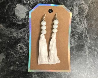 White Tassel and Bead Earrings