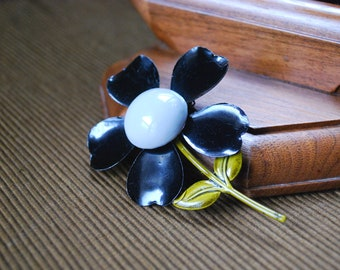 Black and White Flower Brooch, Large Enameled Metal Pin,  Mid Century Jewelry