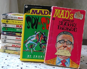 Mad Books from 1970's & 80's Set of 12 Mad, Captain Klutz and Spy VS Spy