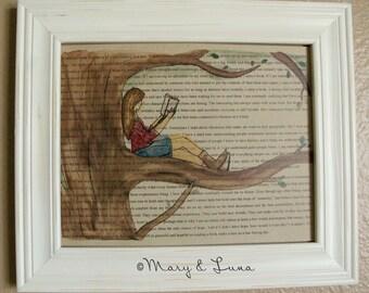 Girl reading in tree- 8x10 Digital Print