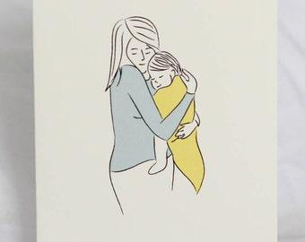 motherhood greeting card: baby snuggles