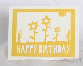 Happy Birthday greeting card: sunflowers