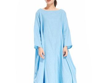 c1e046e81f7 Baggy Kaftan Plus Size Dress Linen Maxi Dress