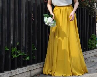 bcc49f4967d3d High Waist Yellow Skirt / Elegant Maxi Skirt / Chiffon Wedding Skirts /  Summer Event Skirt /Floor Length Long Skirt (108), #62