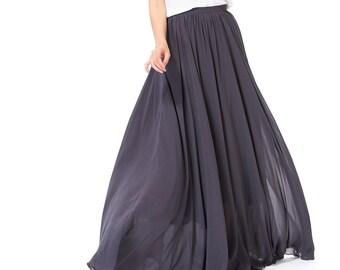 High Waisted Maxi Skirt / Floor Length Long Skirt /Chiffon Maxi Skirt For Women Wedding Party Evening Photograph (108), #49