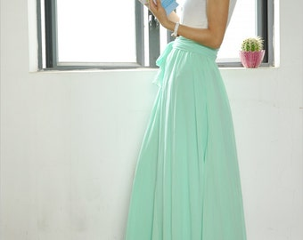 c2b6afc391b High Waist Maxi Skirt Chiffon Silk Skirts Beautiful Bow Tie Elastic Waist  Summer Skirt Floor Length Long Skirt (037)