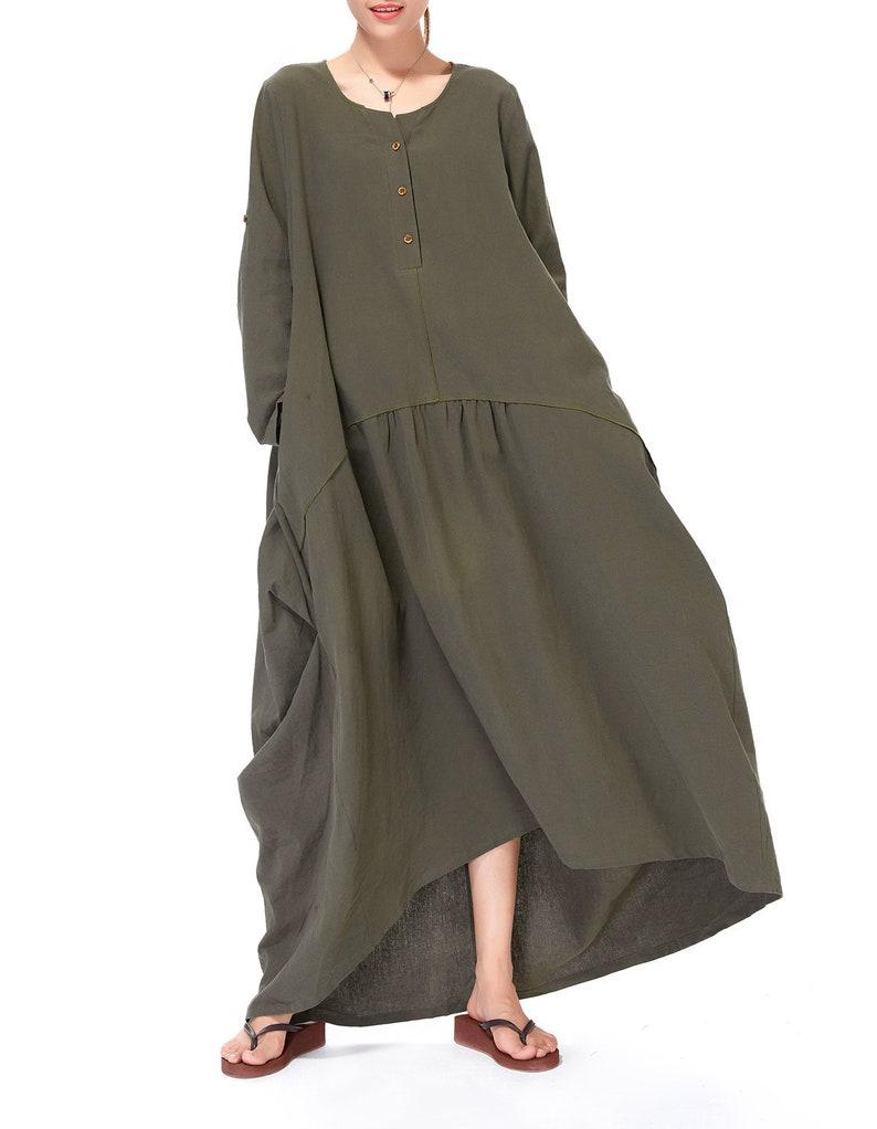 8ca7622bb78 Baggy Kaftan Plus Size Dress Cotton Linen Dress Vintage Muslim