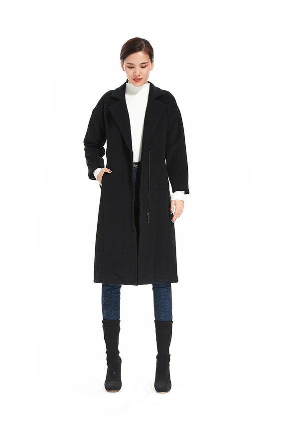 Winter Pockets With Overcoat Black Green Khaki Womens Coats For Zipper Long Women Gray a6pqwxz