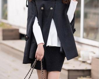 Women's delicate cloak cape coat autumn double breasted woolen winter coat wool coat black outerwear BJ031