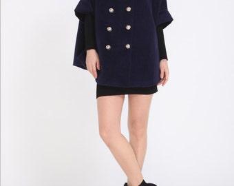 Double breasted cloak cape coat delicate autumn winter coat cashmere blue outerwear BJ054